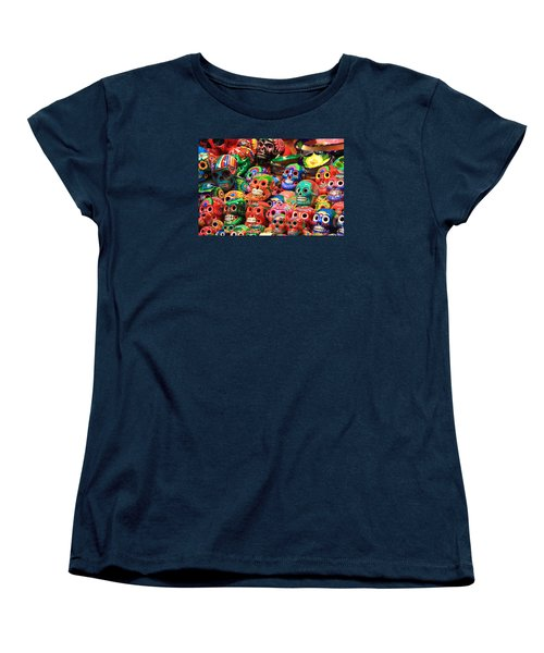 Colorful Mexican Day Of The Dean Ceramic Skulls Women's T-Shirt (Standard Cut) by Roupen  Baker