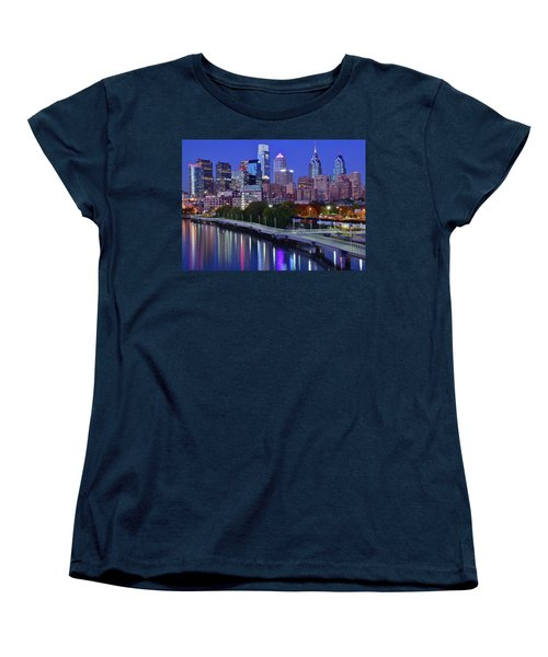Women's T-Shirt (Standard Cut) featuring the photograph Colorful Philly Night Lights by Frozen in Time Fine Art Photography