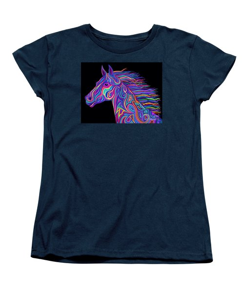 Women's T-Shirt (Standard Cut) featuring the drawing Colorful Rainbow Stallion  by Nick Gustafson