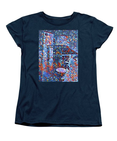 Women's T-Shirt (Standard Cut) featuring the painting Colorful Rock And Roll Hall Of Fame Museum by Dan Sproul