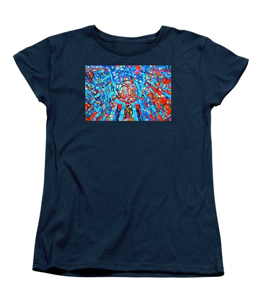 Women's T-Shirt (Standard Cut) featuring the painting Colorful Rockefeller Center Atlas by Dan Sproul