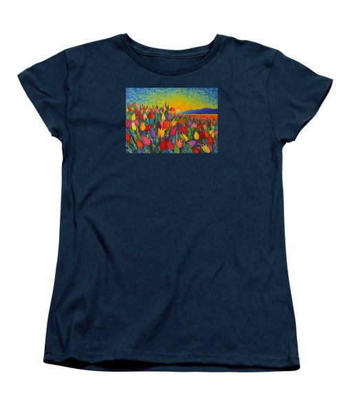 Colorful Tulips Field Sunrise - Abstract Impressionist Palette Knife Painting By Ana Maria Edulescu Women's T-Shirt (Standard Cut) by Ana Maria Edulescu