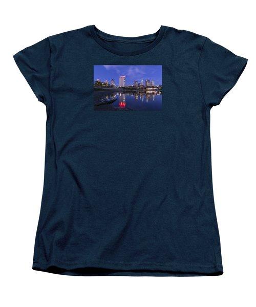 Women's T-Shirt (Standard Cut) featuring the photograph Columbus Evening On Water by Alan Raasch