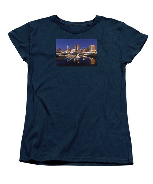 Women's T-Shirt (Standard Cut) featuring the photograph Columbus Skyline Reflection by Alan Raasch