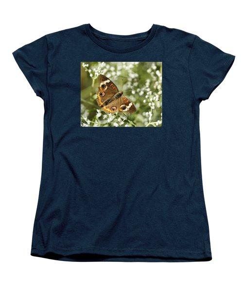 Common Buckeye Butterfly On White Thoroughwort Wildflowers Women's T-Shirt (Standard Cut) by Kathy Clark