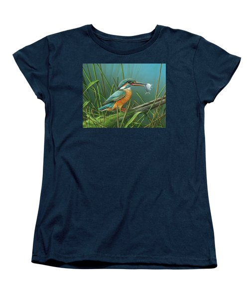 Women's T-Shirt (Standard Cut) featuring the painting Common Kingfisher by Mike Brown