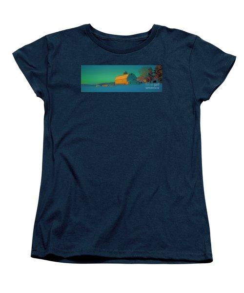 Women's T-Shirt (Standard Cut) featuring the photograph Conley Rd White Barn by Tom Jelen