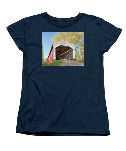 Women's T-Shirt (Standard Cut) featuring the photograph Conley's Ford Covered Bridge by Harold Rau