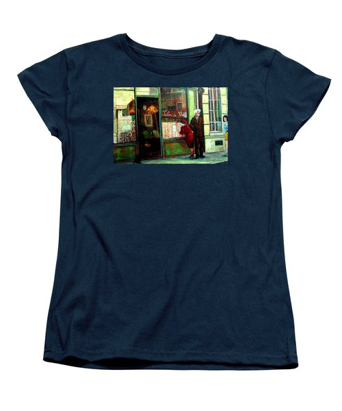 Women's T-Shirt (Standard Cut) featuring the painting Contemplando El Menu-looking Up The Menu by Walter Casaravilla
