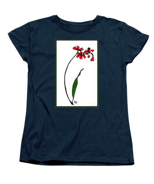 Women's T-Shirt (Standard Cut) featuring the painting Contemporary Orchids by Marsha Heiken