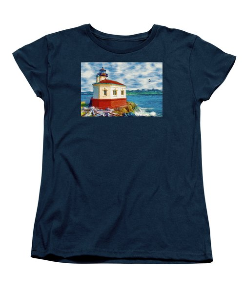 Women's T-Shirt (Standard Cut) featuring the painting Coquille River Lighthouse by Jeff Kolker