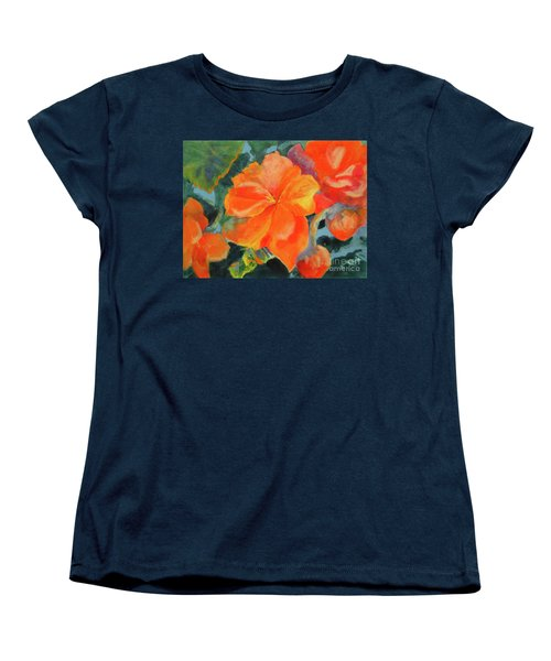 Women's T-Shirt (Standard Cut) featuring the painting Coral Begonias by Kathy Braud