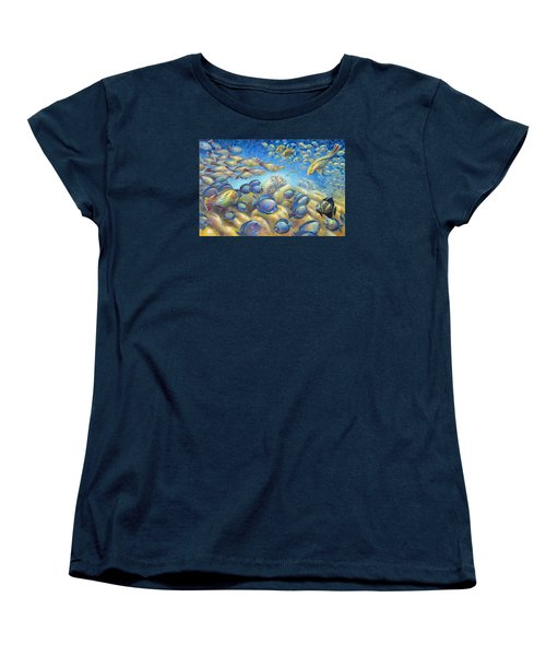 Women's T-Shirt (Standard Cut) featuring the painting Coral Reef Life Silvers by Nancy Tilles
