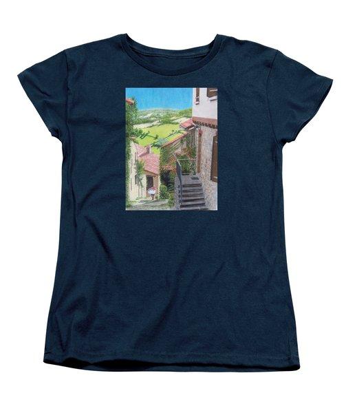 Women's T-Shirt (Standard Cut) featuring the mixed media Cordes Sur Ciel 2 by Constance DRESCHER