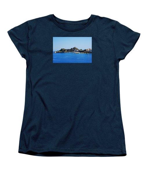 Corfu Fortress On Blue Water Women's T-Shirt (Standard Cut) by Robert Moss