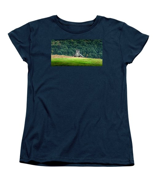 Women's T-Shirt (Standard Cut) featuring the photograph Corn Field Silo by Marvin Spates