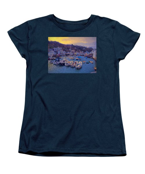 Women's T-Shirt (Standard Cut) featuring the photograph Cornish Fishing Village by Paul Gulliver