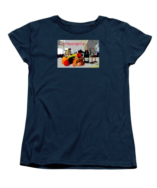 Women's T-Shirt (Standard Cut) featuring the mixed media Cornucopia by Charles Shoup