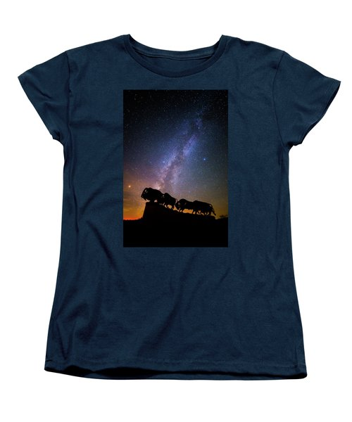 Women's T-Shirt (Standard Cut) featuring the photograph Cosmic Caprock Bison by Stephen Stookey