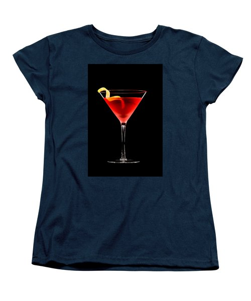 Cosmopolitan Cocktail In Front Of A Black Background  Women's T-Shirt (Standard Cut) by Ulrich Schade