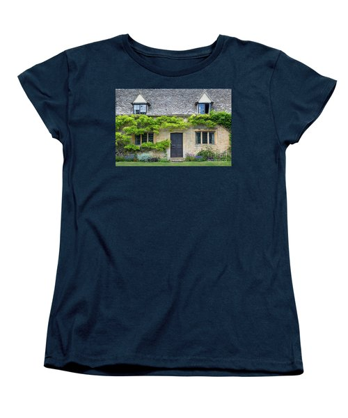 Women's T-Shirt (Standard Cut) featuring the photograph Cotswolds Cottage Home II by Brian Jannsen