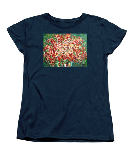 Women's T-Shirt (Standard Cut) featuring the painting Cottage Garden Flowers by Natalie Holland