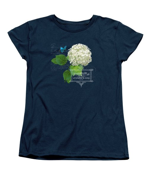Cottage Garden White Hydrangea With Blue Butterfly Women's T-Shirt (Standard Cut) by Audrey Jeanne Roberts