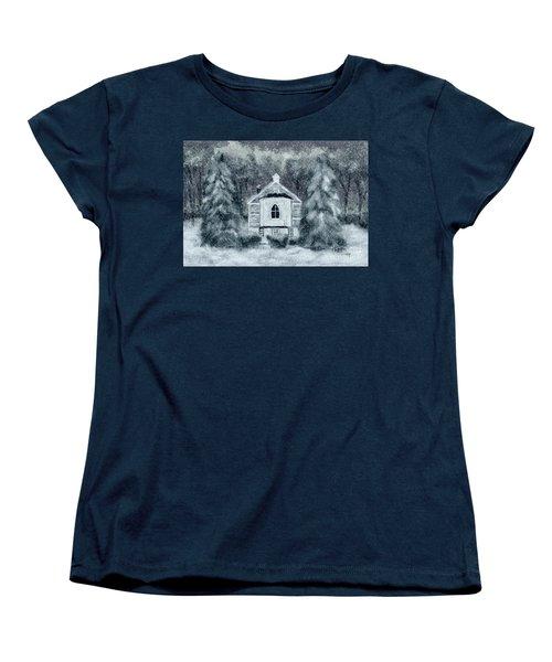 Women's T-Shirt (Standard Cut) featuring the digital art Country Church On A Snowy Night by Lois Bryan