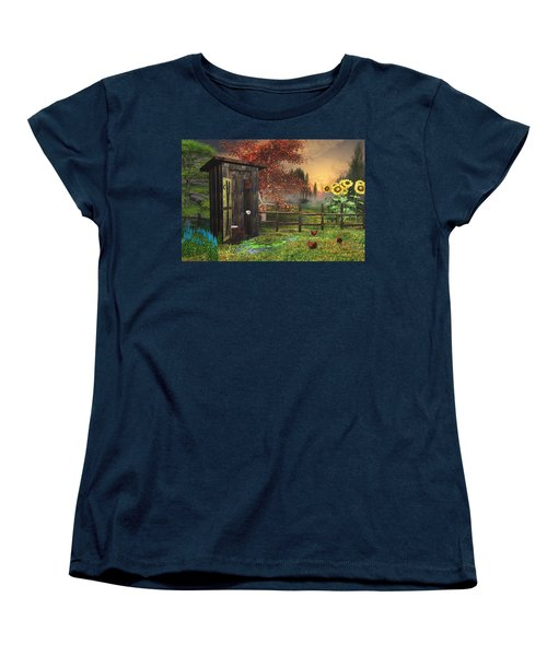 Country Outhouse Women's T-Shirt (Standard Cut) by Mary Almond