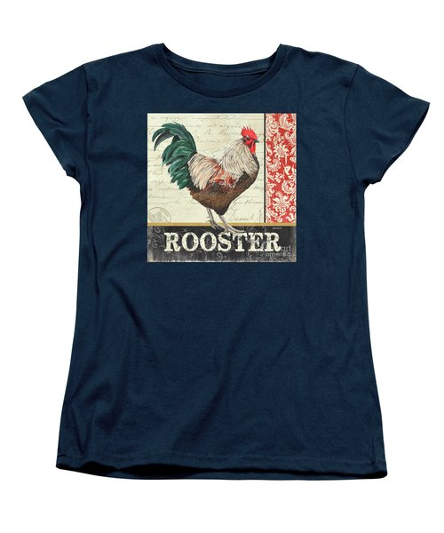 Women's T-Shirt (Standard Cut) featuring the painting Country Rooster 1 by Debbie DeWitt