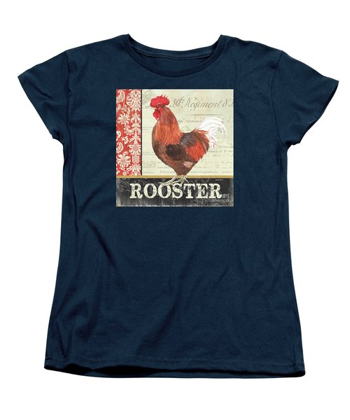 Women's T-Shirt (Standard Cut) featuring the painting Country Rooster 2 by Debbie DeWitt