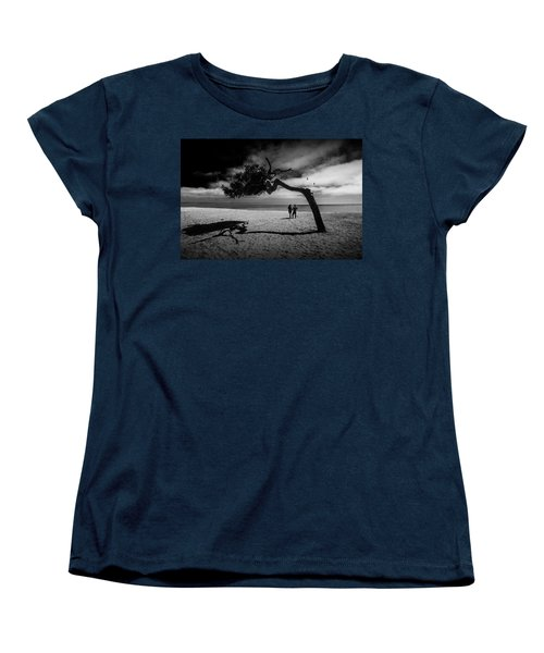 Women's T-Shirt (Standard Cut) featuring the photograph Couple On Cabrillo Beach By Los Angeles California by Randall Nyhof