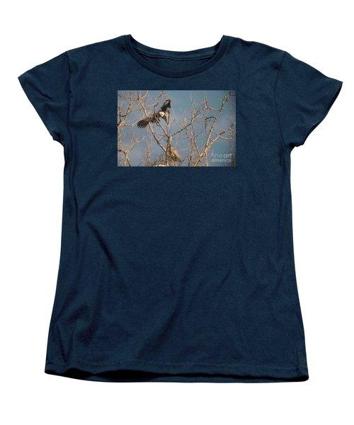 Women's T-Shirt (Standard Cut) featuring the photograph Courtship Ritual Of The Great Blue Heron by David Bearden