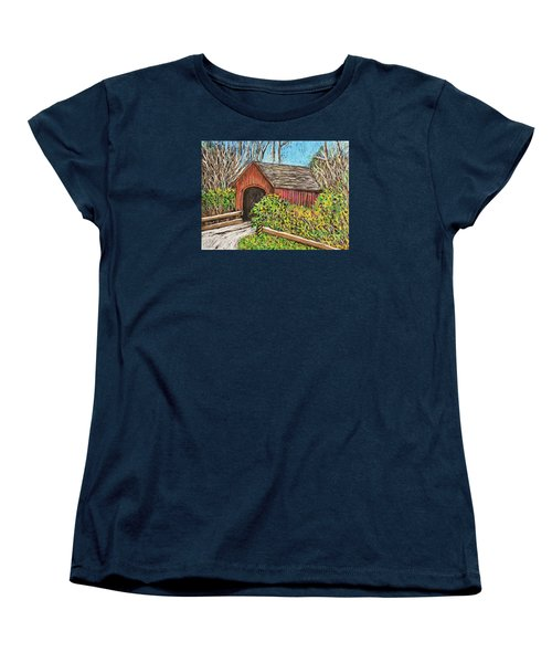 Covered Bridge Women's T-Shirt (Standard Cut) by Reb Frost