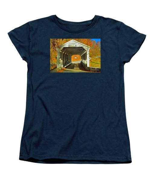 Women's T-Shirt (Standard Cut) featuring the photograph Covered Bridge Impasto Oil by David Zanzinger
