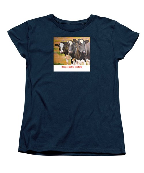 Women's T-Shirt (Standard Cut) featuring the painting Cow Holstein Trio by K L Kingston