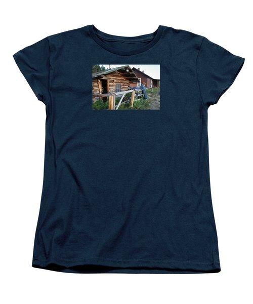 Cowboy Cabin Women's T-Shirt (Standard Cut) by Diane Bohna