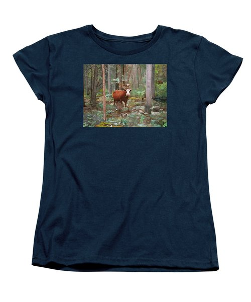 Cows In The Woods Women's T-Shirt (Standard Cut) by Joshua Martin