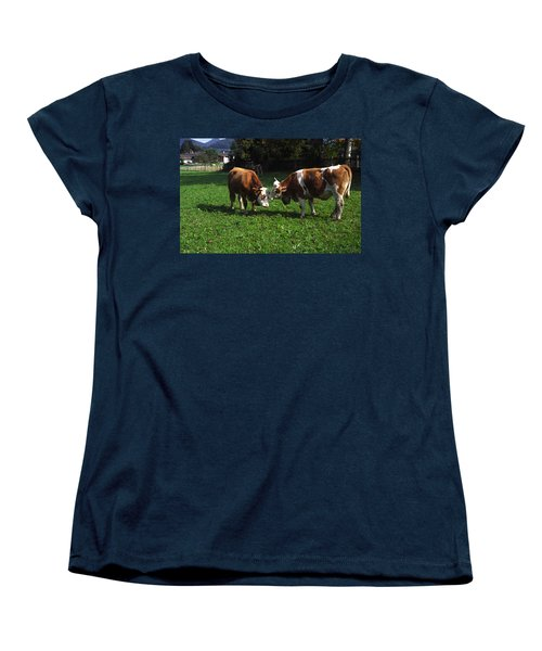 Women's T-Shirt (Standard Cut) featuring the photograph Cows Nuzzling by Sally Weigand