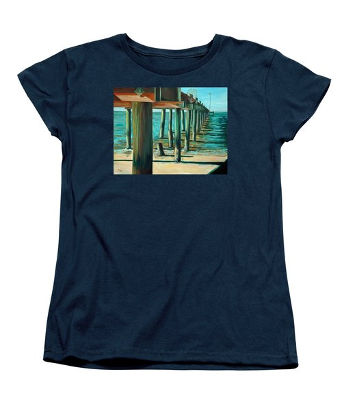 Women's T-Shirt (Standard Cut) featuring the painting Crabbing At Low Tide by Suzanne McKee