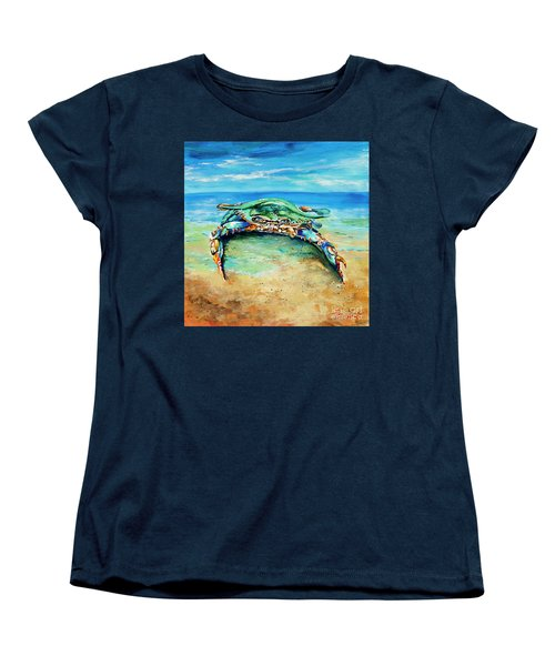Crabby At The Beach Women's T-Shirt (Standard Cut) by Dianne Parks