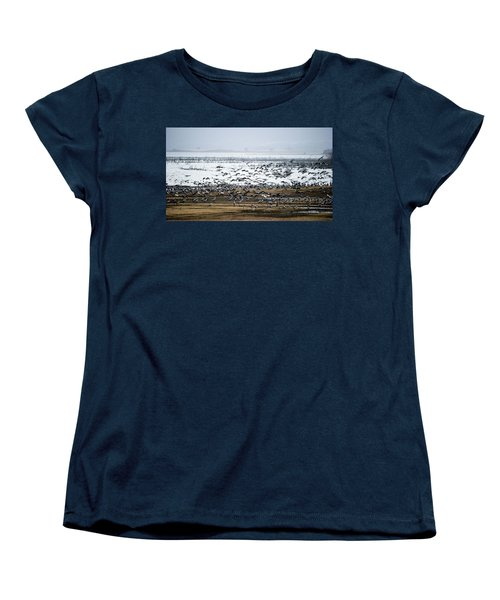 Women's T-Shirt (Standard Cut) featuring the photograph Crane Dance by Torbjorn Swenelius