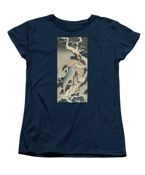 Cranes On Pine Women's T-Shirt (Standard Cut) by Hokusai