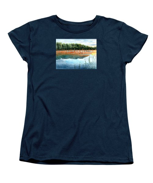 Women's T-Shirt (Standard Cut) featuring the painting Crawford Lake Morning by LeAnne Sowa