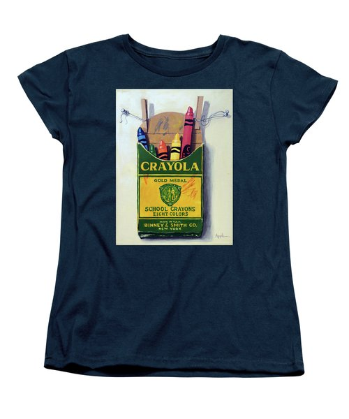 Women's T-Shirt (Standard Cut) featuring the painting Crayola Crayons Painting by Linda Apple