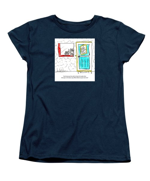 Crazy Cat Lady 0005 Women's T-Shirt (Standard Cut) by Lou Belcher