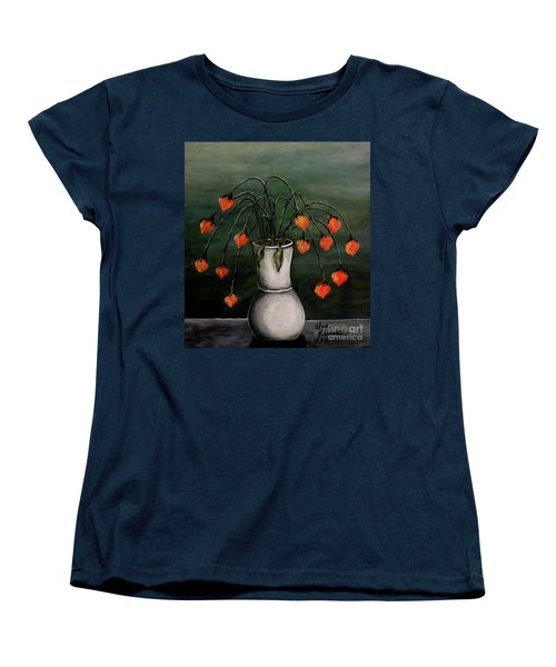 Women's T-Shirt (Standard Cut) featuring the painting Crazy Red Flowers by Judy Kirouac