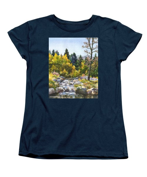 Women's T-Shirt (Standard Cut) featuring the painting Creek At Caribou Ranch by Anne Gifford