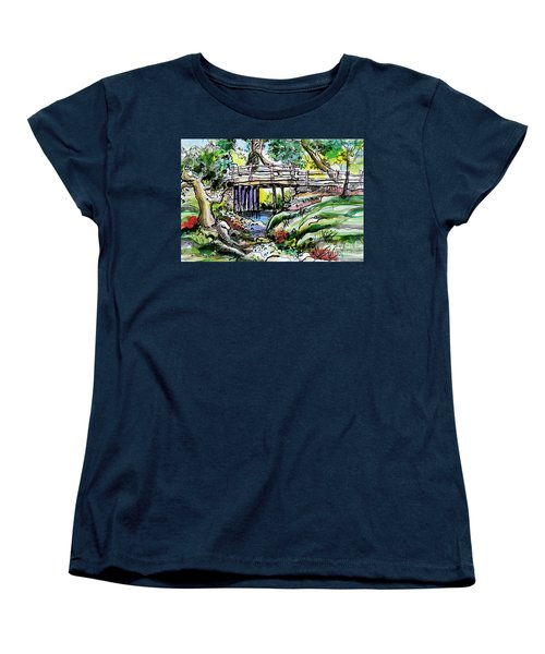 Women's T-Shirt (Standard Cut) featuring the painting Creek Bed And Bridge by Terry Banderas