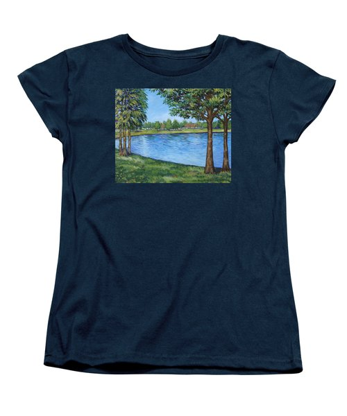 Women's T-Shirt (Standard Cut) featuring the painting Crest Lake Park by Penny Birch-Williams